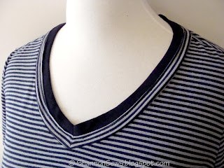 fix a low neckline on a t-shirt by adding knit binding