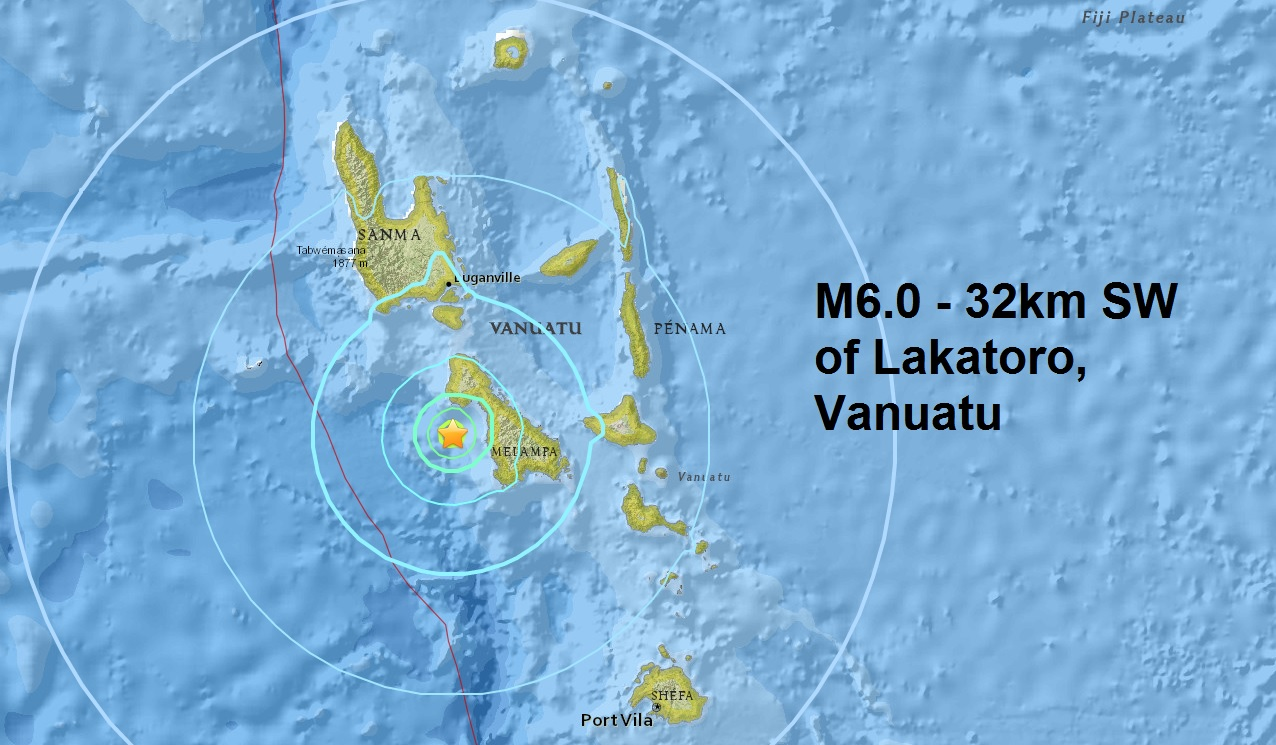 A mag 6.0 - 32km SW of Lakatoro, Vanuatu is the 6th major quake to hit the small islands this month