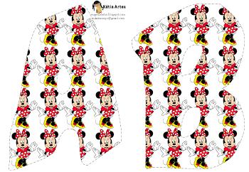 Alfabeto de Minnie en fondo blanco.