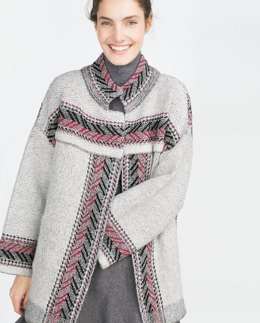 zara ethnic print coat, ethnic grey coat,