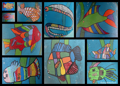 photo of: children's painted fish artwork