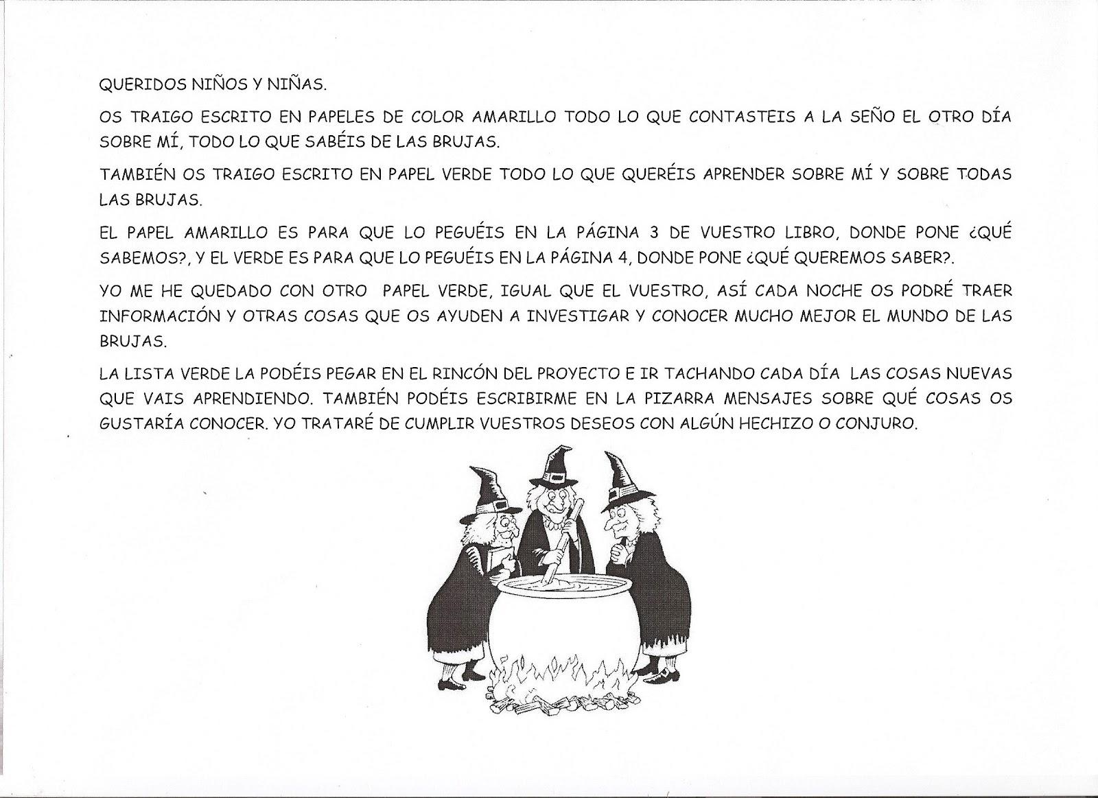 DEBAJO DEL ARCO IRIS: TARJETAS CON LAS LETRAS DE BRUJA