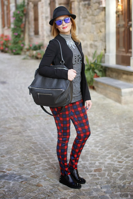 plaid pants, h&m fedora hat, givenchy pandora, fashion and cookies, fashion blogger