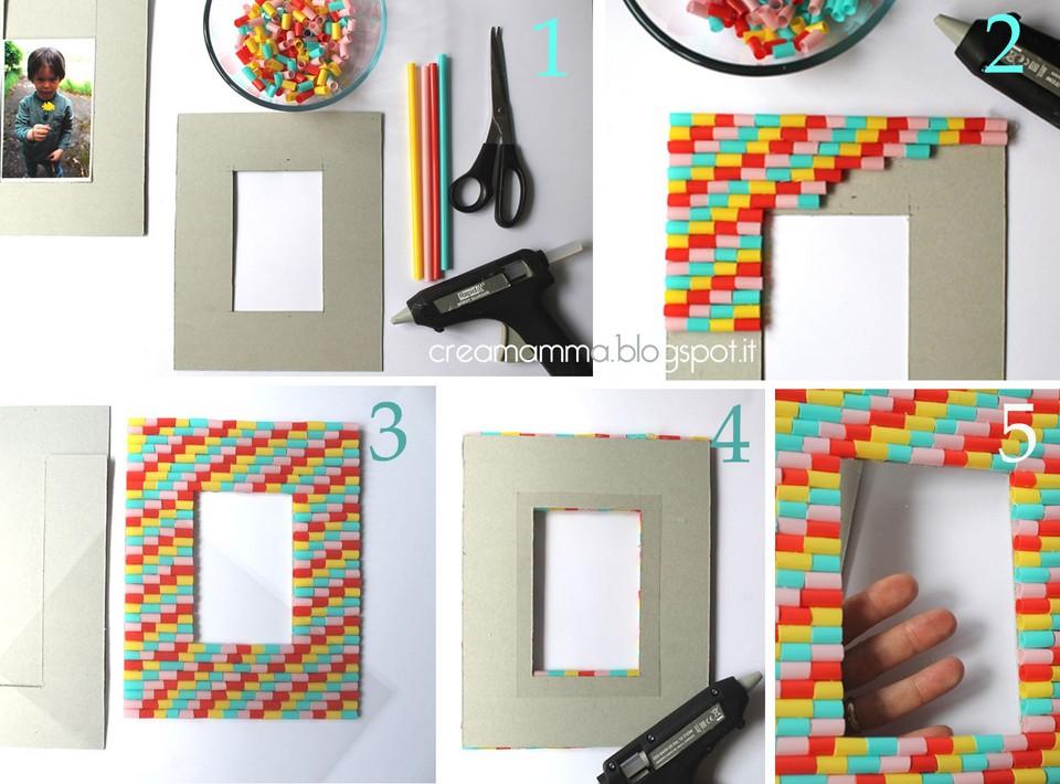 Top Diario di una Creamamma: Portafoto fai da te decorato con le cannucce VY42