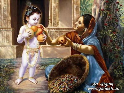 Lord Krishna and fruit seller