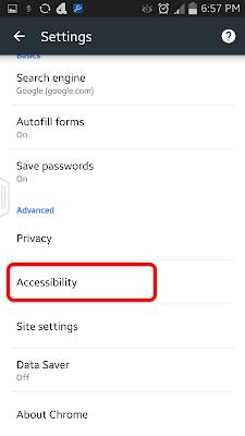 மொபைல் கூகுள் குரோம் Accessibility
