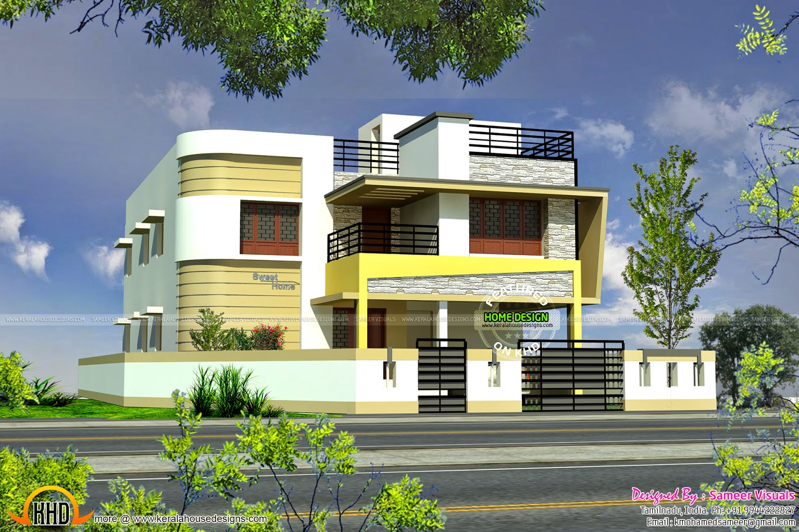 Tamilnadu style modern house design kerala home design for Tamilnadu house designs photos