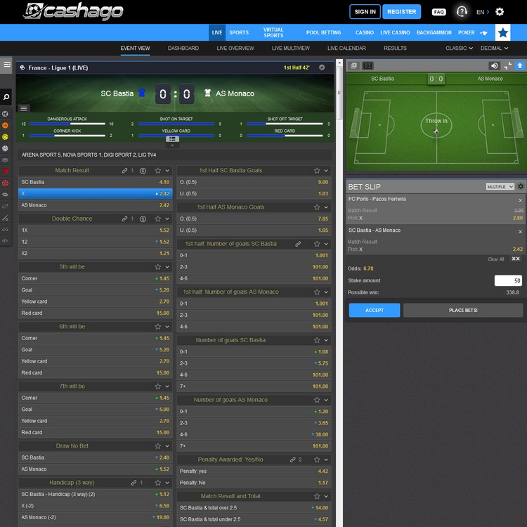 Cashago Live Betting Offers