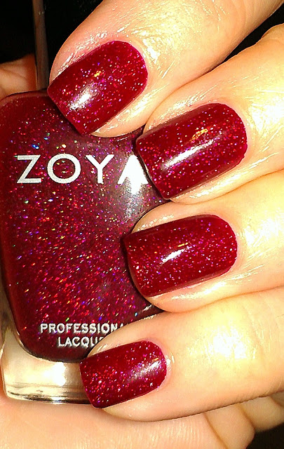 zoya ornate red scattered holo