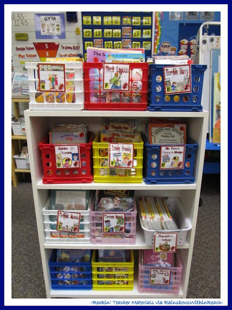 photo of: Organized Classroom Reading Materials (Rockin' Teacher Materials via RainbowsWithinReach)