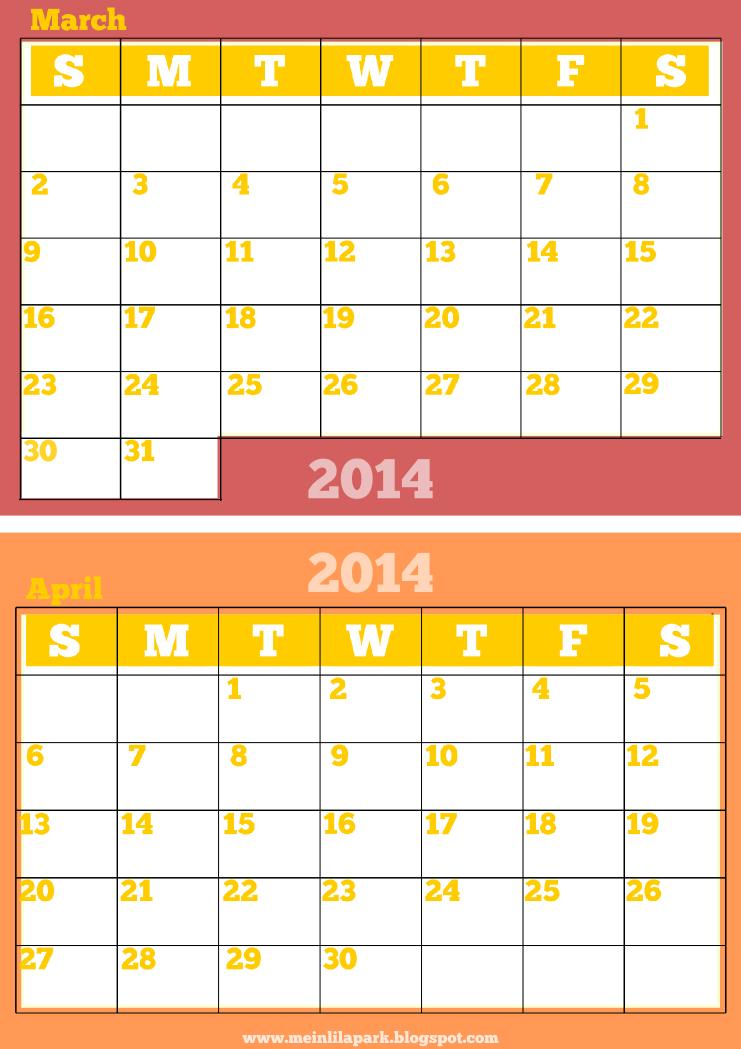March 2014 Calendar Printable Free