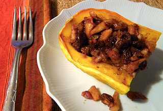 Serving of Apple Stuffed Squash on Plate