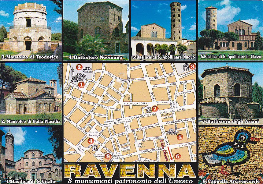 My unesco world heritage postcards italy early christian multi view with map showing the location all the eight monuments of ravenna thanks to rita of italy nice italy flag stamp used sciox Choice Image