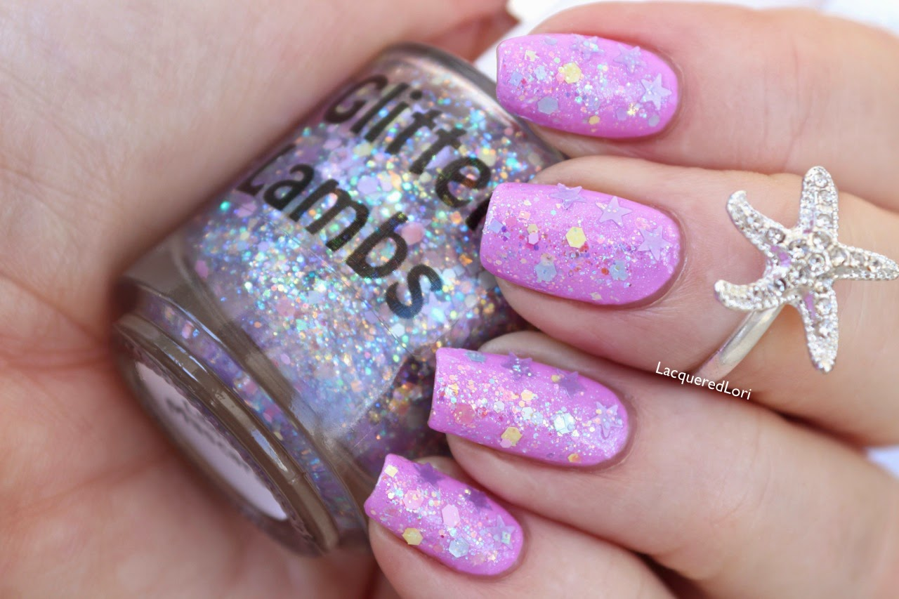 "Glitter Lambs ""Candy Lip Balm""  Glitter Topper Nail Polish ""Fashion Makeover Collection""  Swatched by @LacqueredLori"