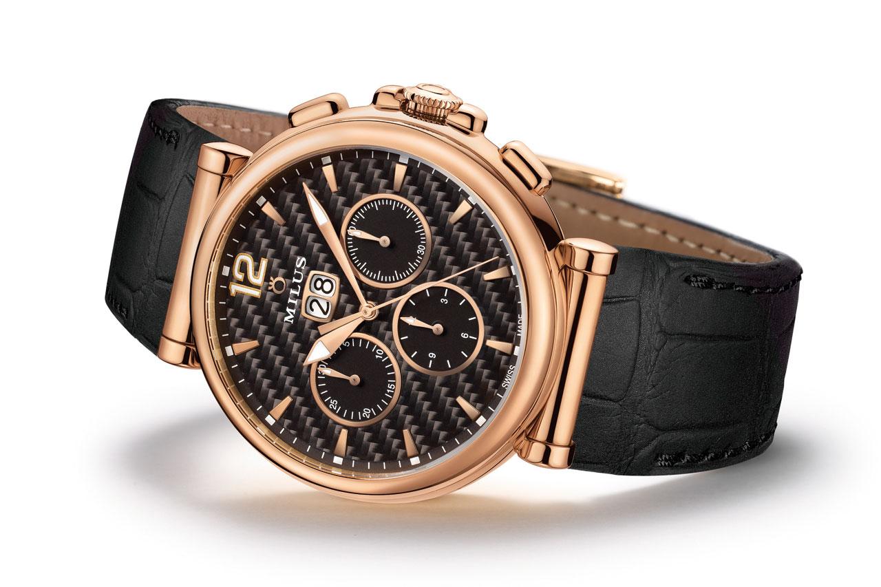Milus Zetios Chronograph Automatic Watch gold