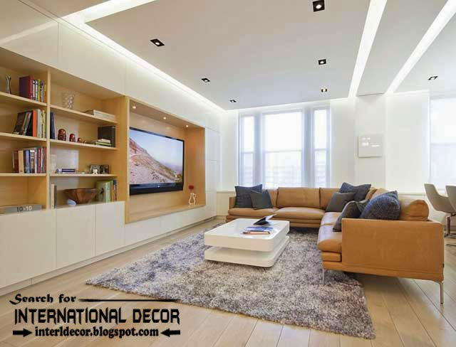 15 modern pop false ceiling designs ideas 2015 for living room for Modern living room ceiling lights