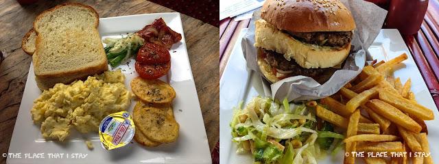 Indonesia - Lombok - Gili Trawangan - Le Petit Gili - The breakfast (left) and Double Cheese burger