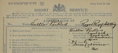 Army Enlistment papers - Short Service - for Walter Parkes born in Sandbach.