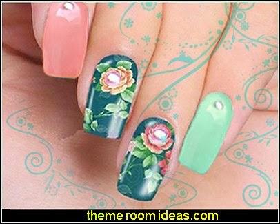 flower Nail Water Transfers - flower sticker  Wraps