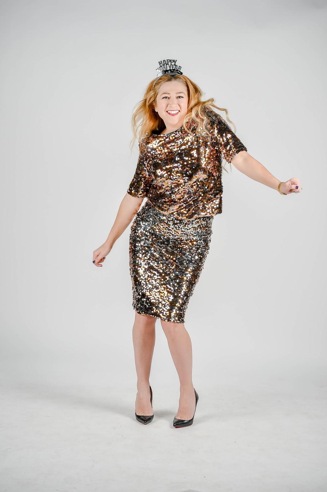 Midi Dress with Sequin Skirt