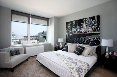 dormitorio gris y negro