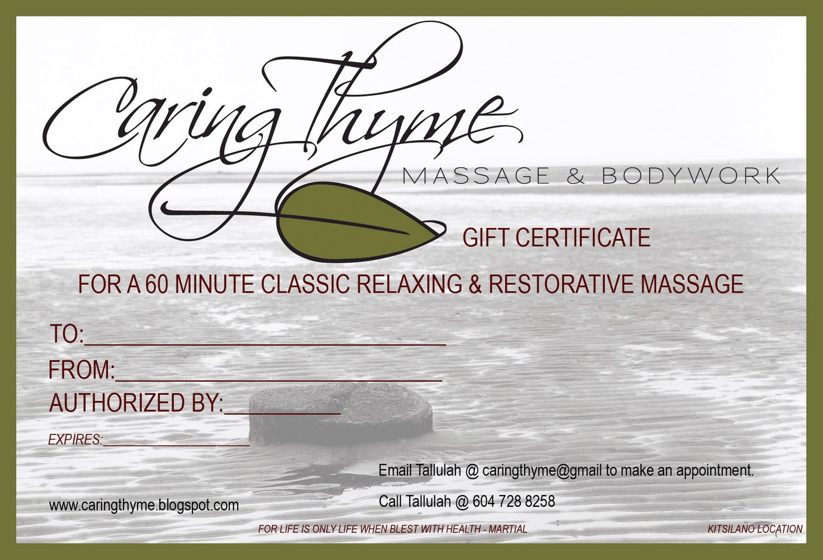 Caringthyme massage bodywork for Massage gift certificate template