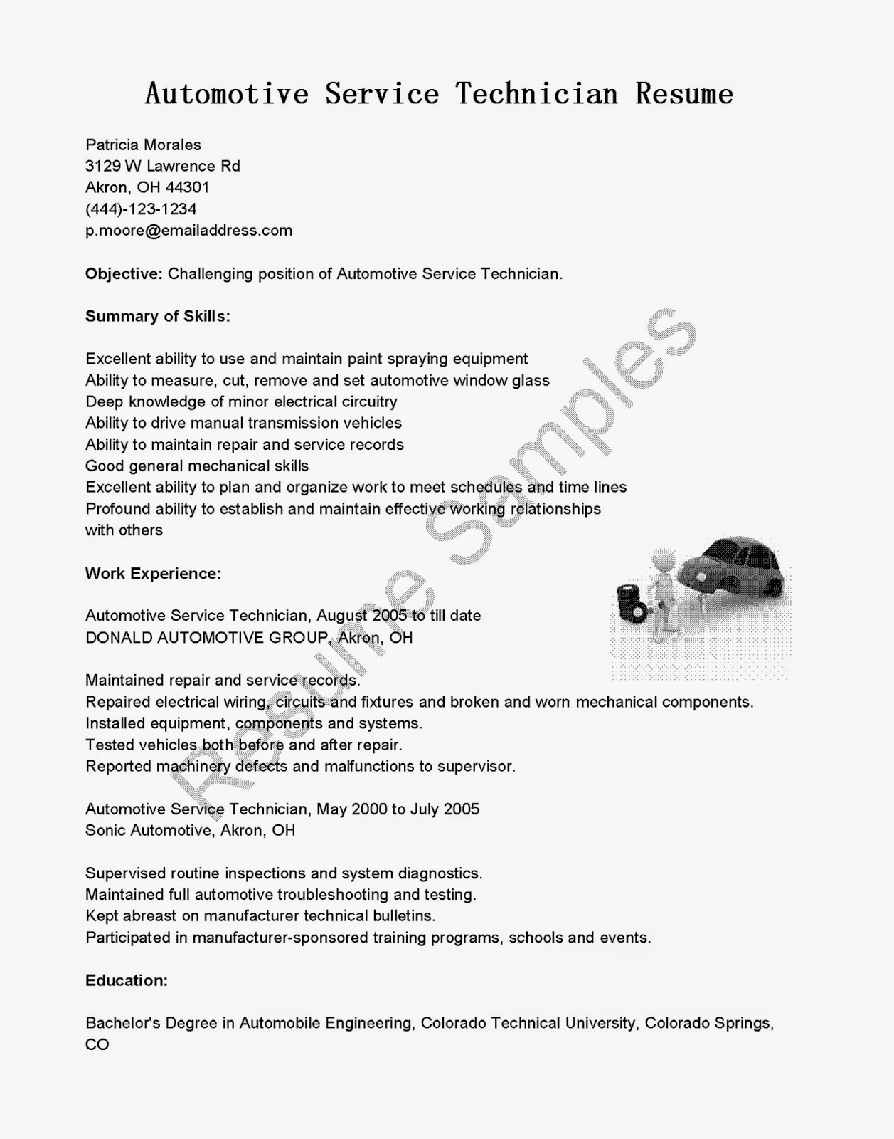 Resume Samples Automotive Service Technician Resume Sample