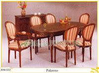 Meja dan Kursi Makan Kayu Jati Ukiran Palermo