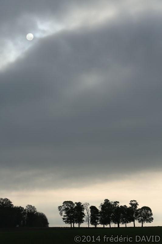 Lune Soleil campagne arbres silhouettes nuages ciel Seine-et-Marne