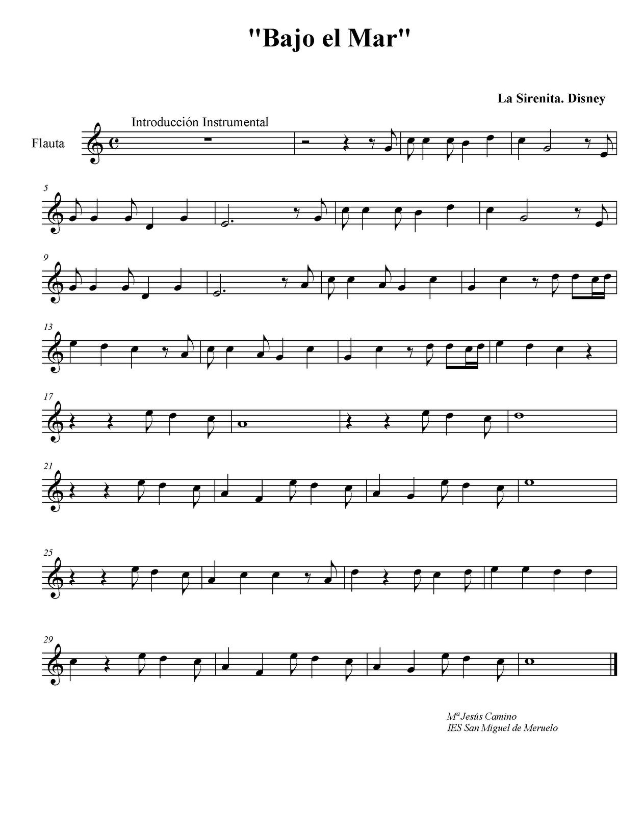 letra de la cancion de la sirenita bajo: