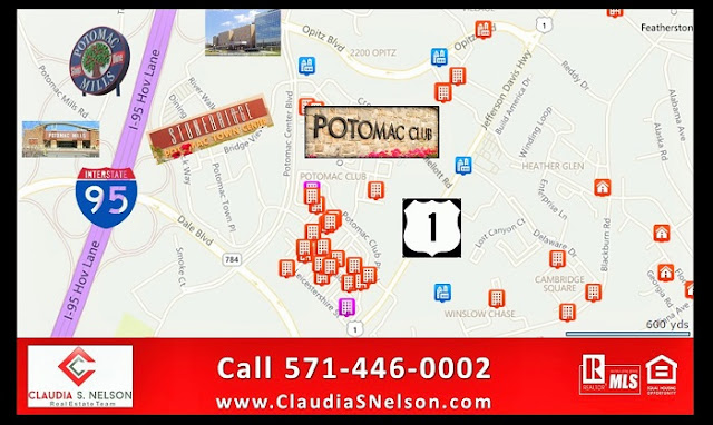 Map to Potomac Club Condos near Stonebridge Potomac Town Center