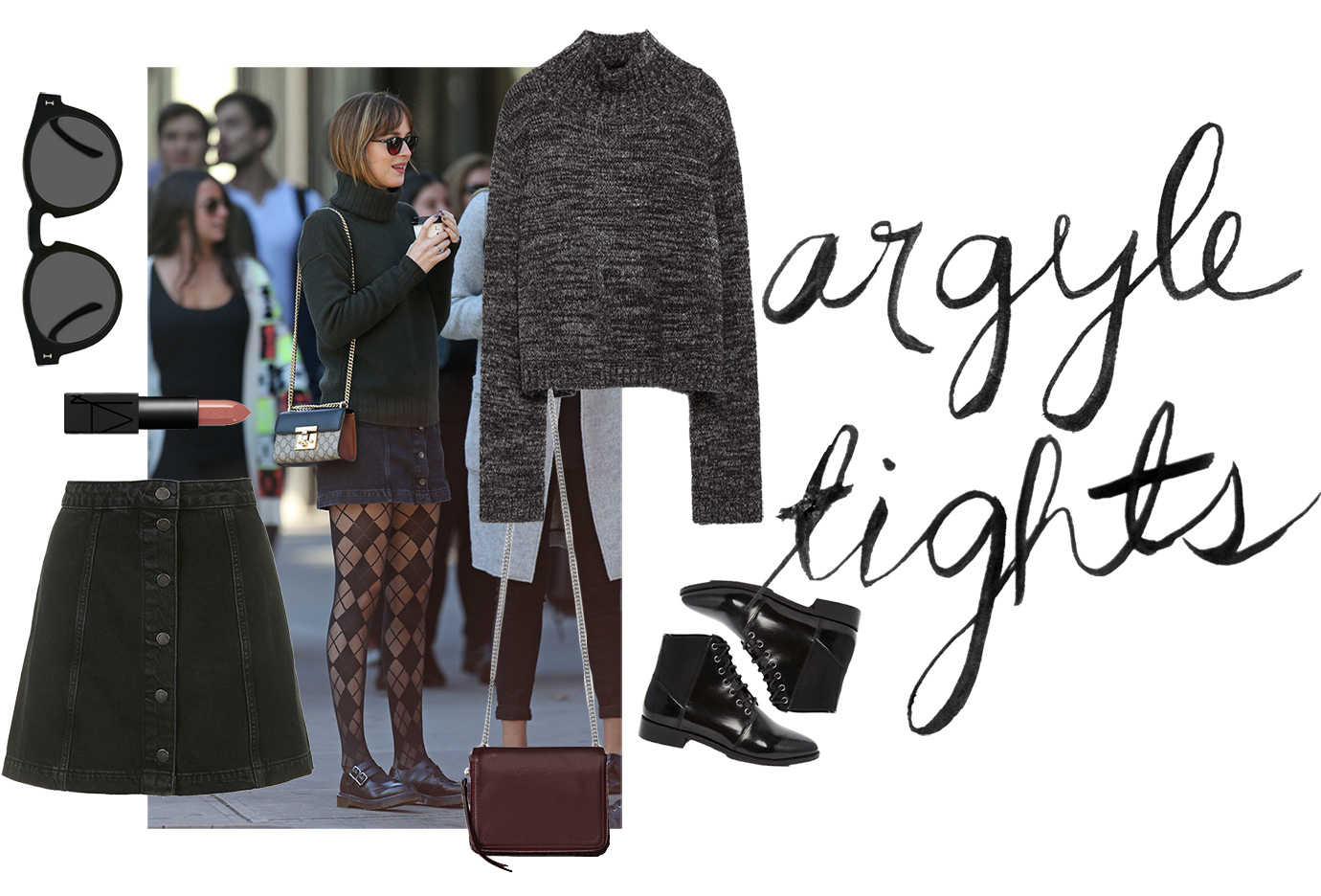 alice olivia, argyle tights, dakota johnson, street style, celebrity style, printed tights