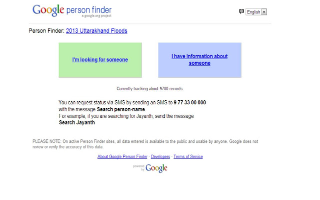 Google Person Finder for Utharkhand Floods