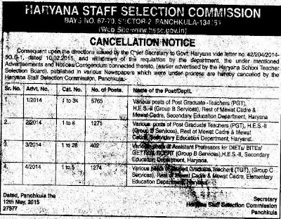 image : HSSC Cancellation Notice - HSTSB Recruitment of 8712 Teaching Posts - 2014