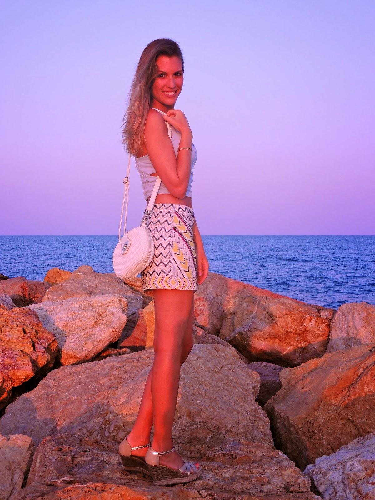 falda zara abalorios