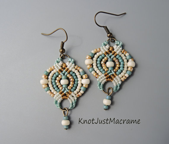 Micro macrame earrings by Sherri Stokey of Knot Just Macrame.