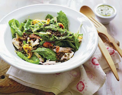 Chicken and lentil salad with caper dressing