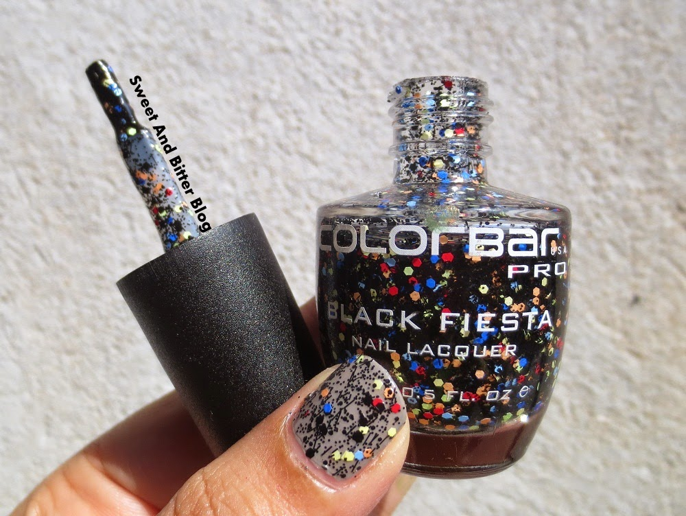 Colorbar new black fiesta nail lacquer for confetti nail art lovers