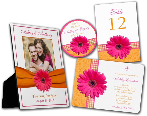 Pink Gerber Orange Plaid Confirmation Invitation