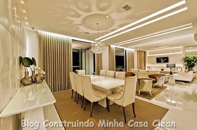 Sala De Jantar Luxuosa ~ 26 Mesa retangular de 8 lugares com poltronas bege! Pendente de