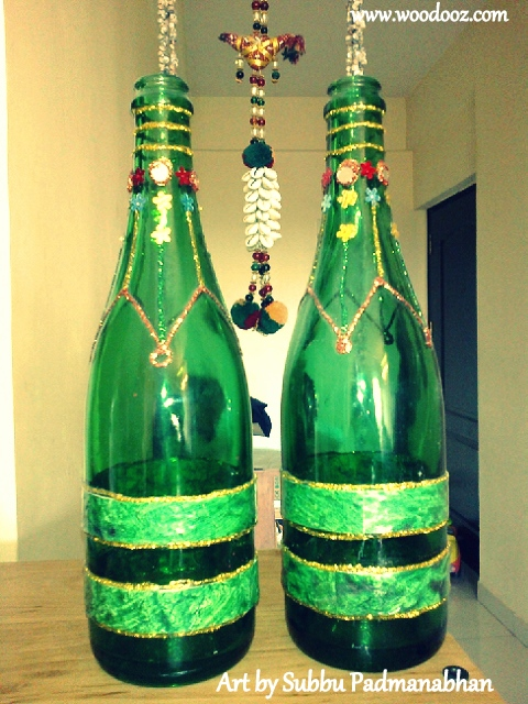 art idea to upcycle wine bottles indian woodworking diy