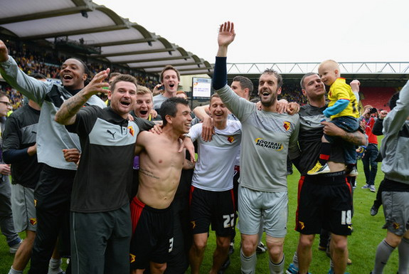 Watford players celebrate after winning the Championship Playoff Semi Final against Leicester
