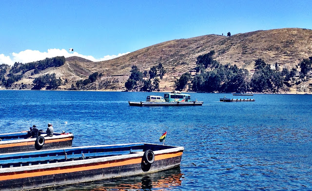 Bus crossing Lake Titicaca on ferry