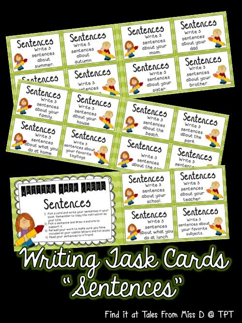 http://www.teacherspayteachers.com/Product/Writing-Task-Cards-Writing-Sentences-1430442