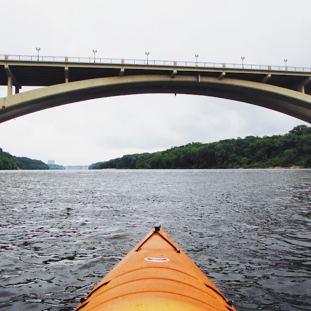 Kayaking down the Mississippi River in Minneapolis, MN