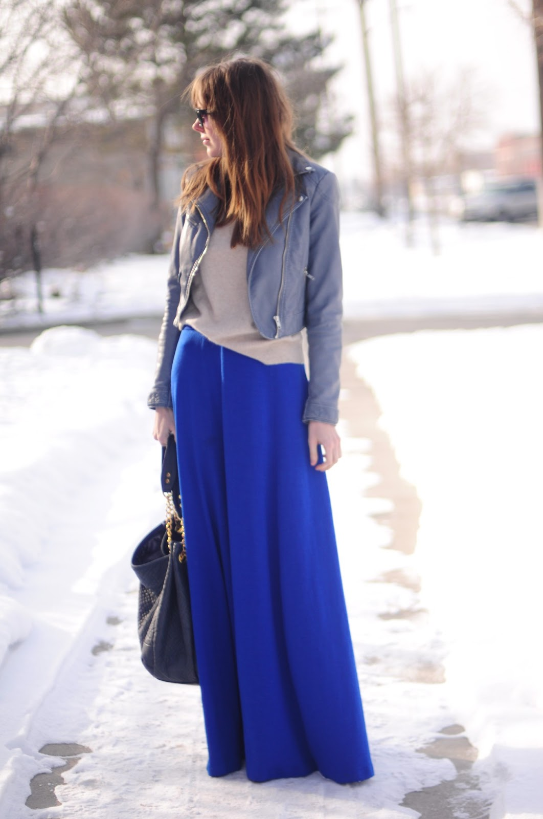 Motorcycle jacket and blue maxi skirt