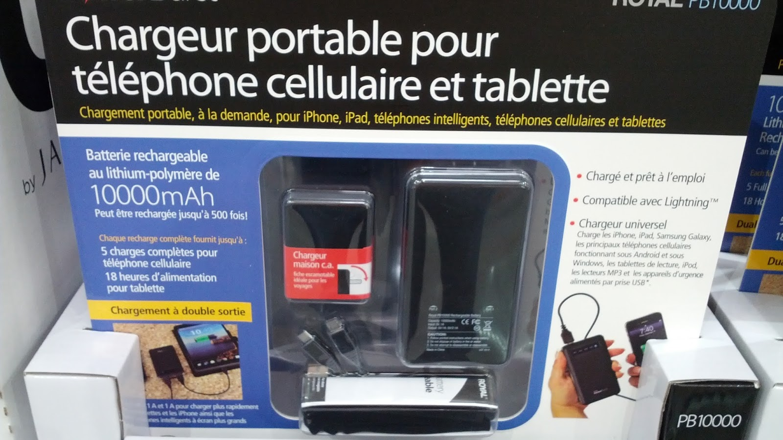 Royal Portable Cell Phone and Tablet Charger PB10000 great for traveling & Royal Cell Phone and Tablet Charger | Costco Weekender