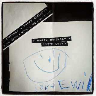 Birthday Card with East of India Typewriter Tape