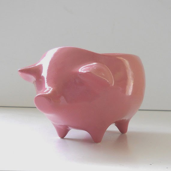 Ceramic Pig Planter Vintage Design in Bubble Gum Pink Succulent Planter Retro Sponge Holder Home Decor Baby Shower Centerpiece Candy Favors