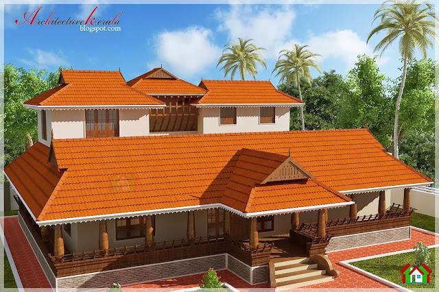 ... feet traditional style Kerala house elevation, nalukettu , poomukam